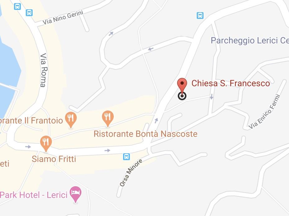 mappa chiesa di San Francesco lerici